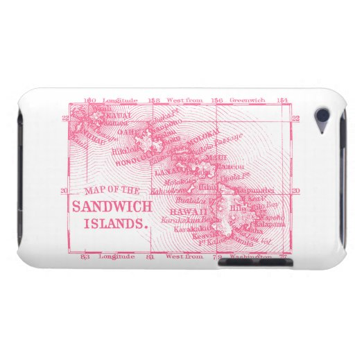 Vintage Hawaii Map, Pink Barely There iPod Cover