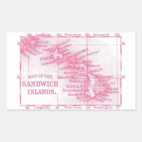 Vintage Hawaii Map, Pink Rectangular Sticker