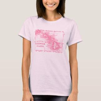Vintage Hawaii Map, Pink T-Shirt