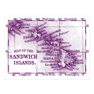 Vintage Hawaii Map, Purple Postcard