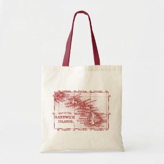 Vintage Hawaii Map, Red Canvas Bags