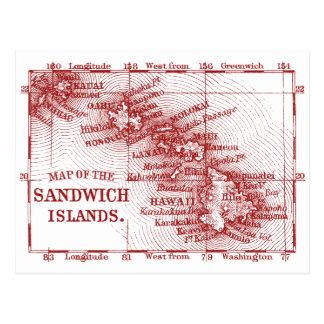 Vintage Hawaii Map, Red Postcard