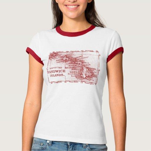 Vintage Hawaii Map,  Red Shirts