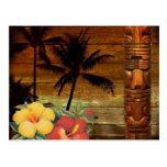 Vintage hawaii Passion flower totem art Postcard