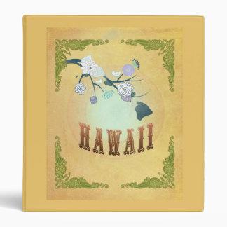 Vintage Hawaii State Map- Passion Fruit Yellow Binder