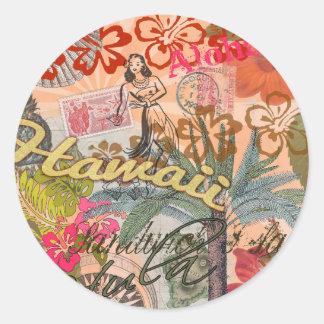 Vintage Hawaii Travel Colorful Hawaiian Tropical Classic Round Sticker