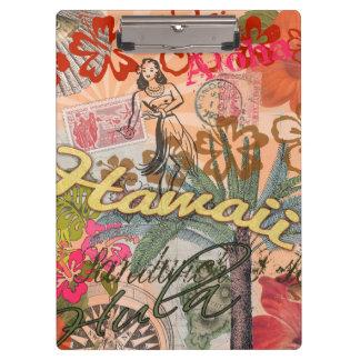 Vintage Hawaii Travel Colorful Hawaiian Tropical Clipboard