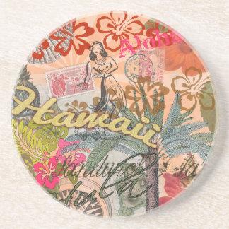 Vintage Hawaii Travel Colorful Hawaiian Tropical Drink Coaster
