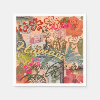 Vintage Hawaii Travel Colorful Hawaiian Tropical Napkin