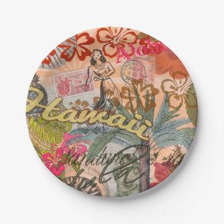 Vintage Hawaii Travel Colorful Hawaiian Tropical Paper Plate