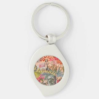 Vintage Hawaii Travel Colorful Hawaiian Tropical Key Chain