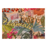 Vintage Hawaii Travel Colorful Hawaiian Tropical Poster