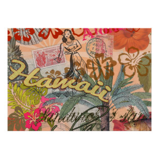 Vintage Hawaii Travel Colorful Hawaiian Tropical Poster