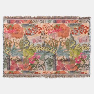 Vintage Hawaii Travel Colorful Hawaiian Tropical Throw Blanket