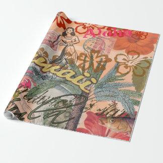 Vintage Hawaii Travel Colorful Hawaiian Tropical Wrapping Paper