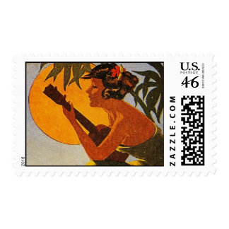 Vintage Hawaii Ukulele Stamp