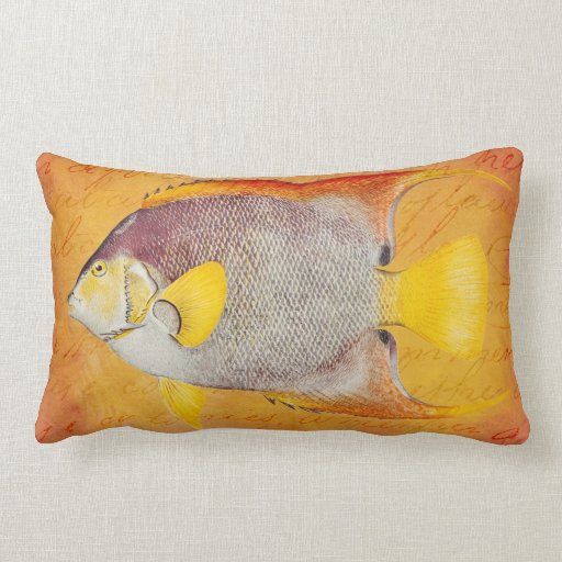 Vintage Hawaiian Angel Fish - Hawaii Antique Pillow