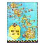 Vintage Hawaiian Islands Map Post Cards