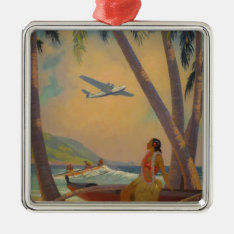 Vintage Hawaiian Travel - Hawaii Girl Dancer Metal Ornament at Zazzle