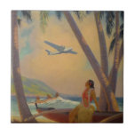 "Vintage Hawaiian Travel - Hawaii Girl Dancer Tile<br><div class=""desc"">Vintage Hawaiian Travel - Hula Girl Dancer - Airplane & Beach. 'Where Progress and Romance Meet', by Ruehl Frederick Heckman. vintage, retro, hawaii, hawaiian, polynesian, exotic, travel, airplane, plane, aloha, world famous places, art, artwork, painting, hula girl dancer aloha beach, world famous places region picture, island tribal people art artwork,...</div>"