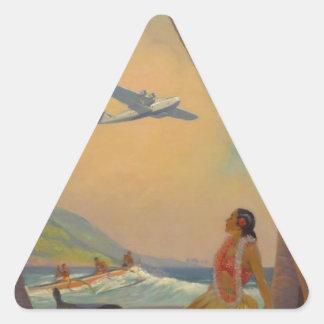 Vintage Hawaiian Travel - Hawaii Girl Dancer Triangle Sticker