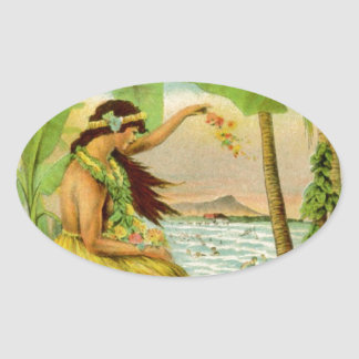 Vintage Hawaiian Travel Oval Sticker