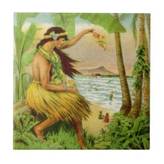Vintage Hawaiian Travel Small Square Tile