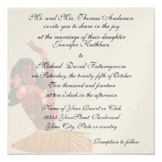 Vintage Hawaiian Tropical Wedding and Reception Card