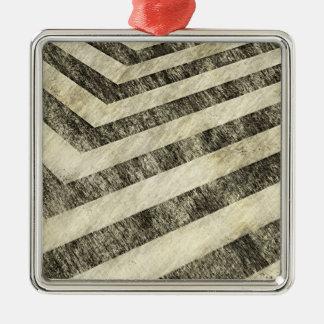 Vintage Hazard Stripes Metal Ornament