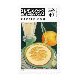 Vintage Health Foods, Beverages, Healthy Breakfast Postage Stamp