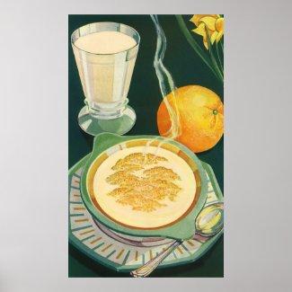 Vintage Health Foods, Beverages, Healthy Breakfast Poster