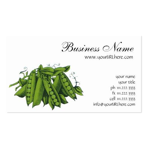 Vintage Healthy Food Vegetables, Sugar Snap Peas Business Card