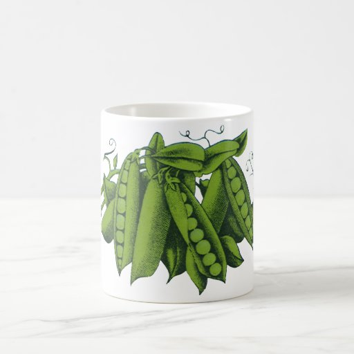 Vintage Healthy Food Vegetables, Sugar Snap Peas Classic White Coffee Mug
