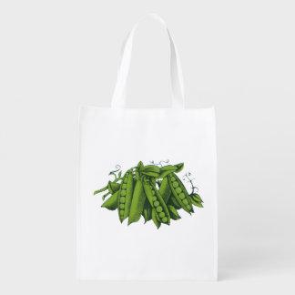 Vintage Healthy Food Vegetables, Sugar Snap Peas Reusable Grocery Bag