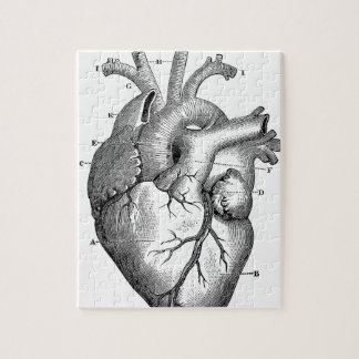Vintage Heart Anatomy | Customizable Jigsaw Puzzle