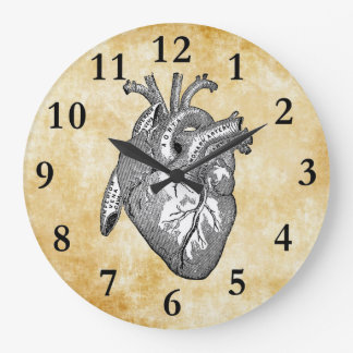 vintage heart anatomy large clock