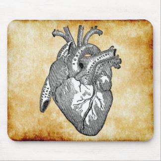 vintage heart anatomy mouse pad