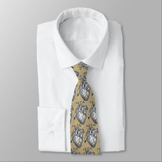 vintage heart anatomy neck tie