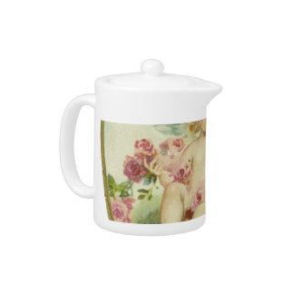 Vintage Heart and Cherub - Mother's Day/Valentine Teapot