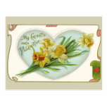 Vintage Heart and Daffodils Valentine Postcard