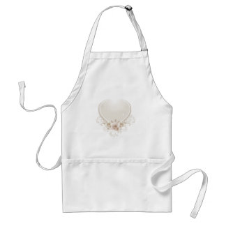 Vintage Heart and Roses Ecru Adult Apron