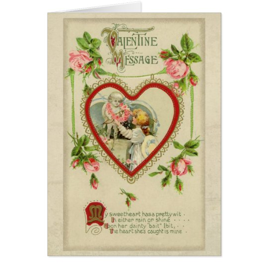 Vintage Heart and Roses Valentine Card