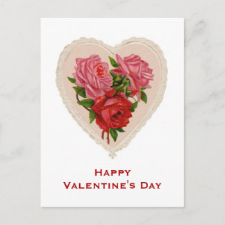 Vintage Heart and Roses Valentine's Day Post Card