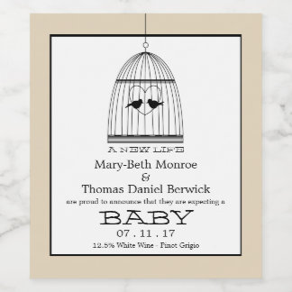 Vintage Heart Birdcage Baby Due date Announcement Wine Label
