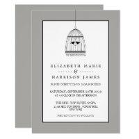 Vintage Heart Birdcage Wedding Invitation