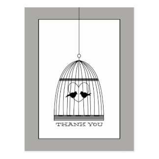 Vintage Heart Birdcage Wedding Thank You Postcard