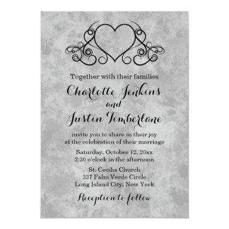 Vintage Heart Black & Gray Watercolor Wedding Invitation