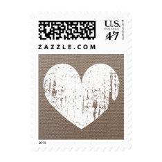Vintage heart burlap country chic wedding stamps at Zazzle