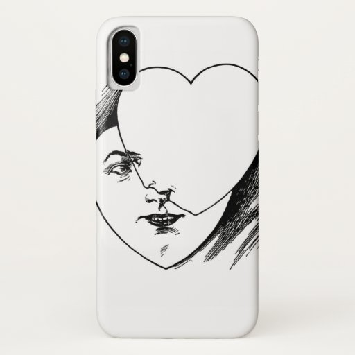 Vintage Heart Faces iPhone Case