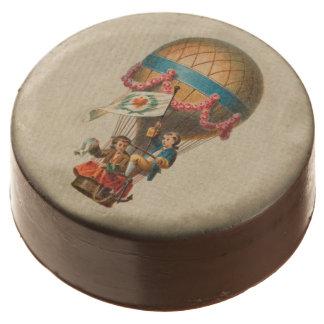 Vintage Heart Flag Hot Air Balloon Chocolate Covered Oreo